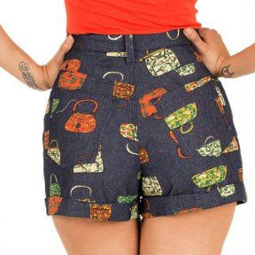 Tatyana Chica Shorts in Denim Purse Print-Shorts-Glitz Glam and Rebellion GGR Pinup, Retro, and Rockabilly Fashions