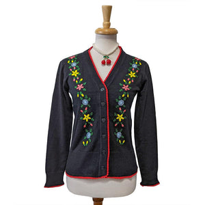 Timeless London Embroidered Flower Cardigan-Cardigan-Glitz Glam and Rebellion GGR Pinup, Retro, and Rockabilly Fashions
