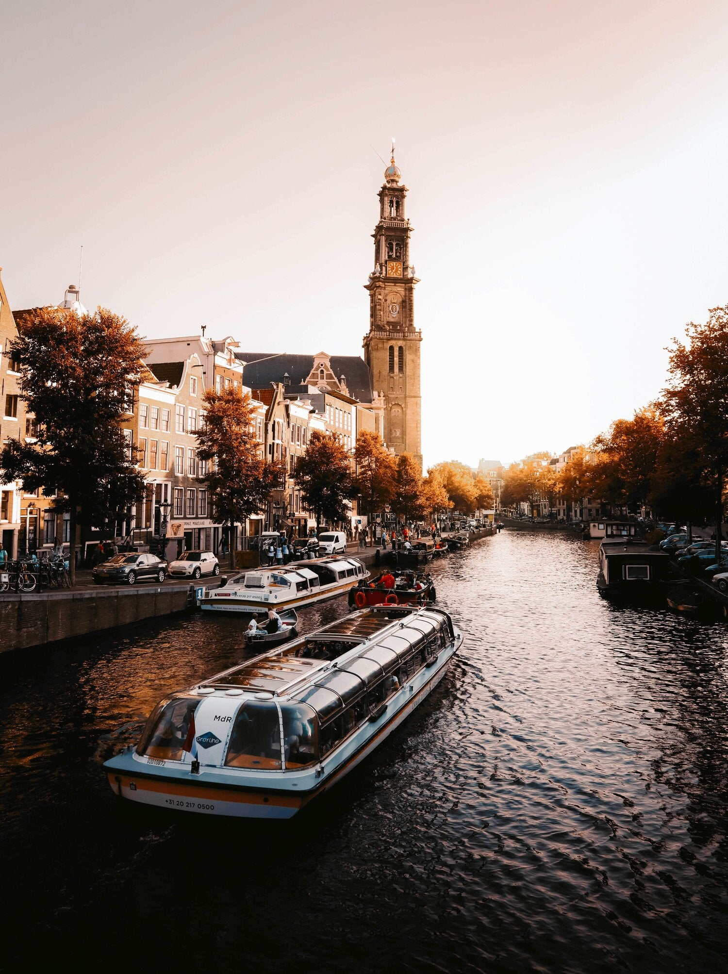 Amsterdam canal at sunset in Autumn