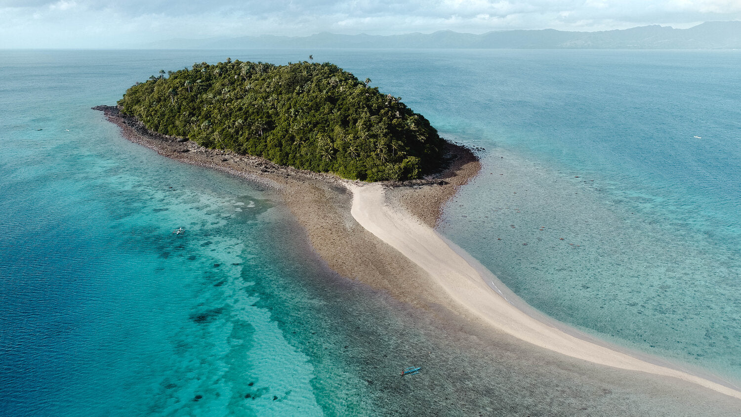 Drone shot of Bon Bon beach in Romblon, Philippines