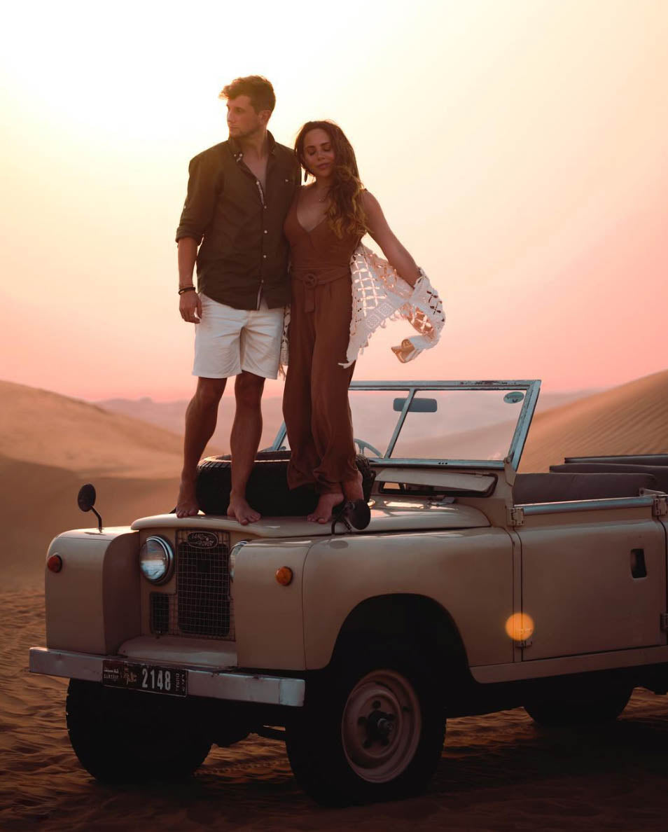 Lost LeBlanc and KatytheChic on top of a Land Rover in Dubai Desert on Safari
