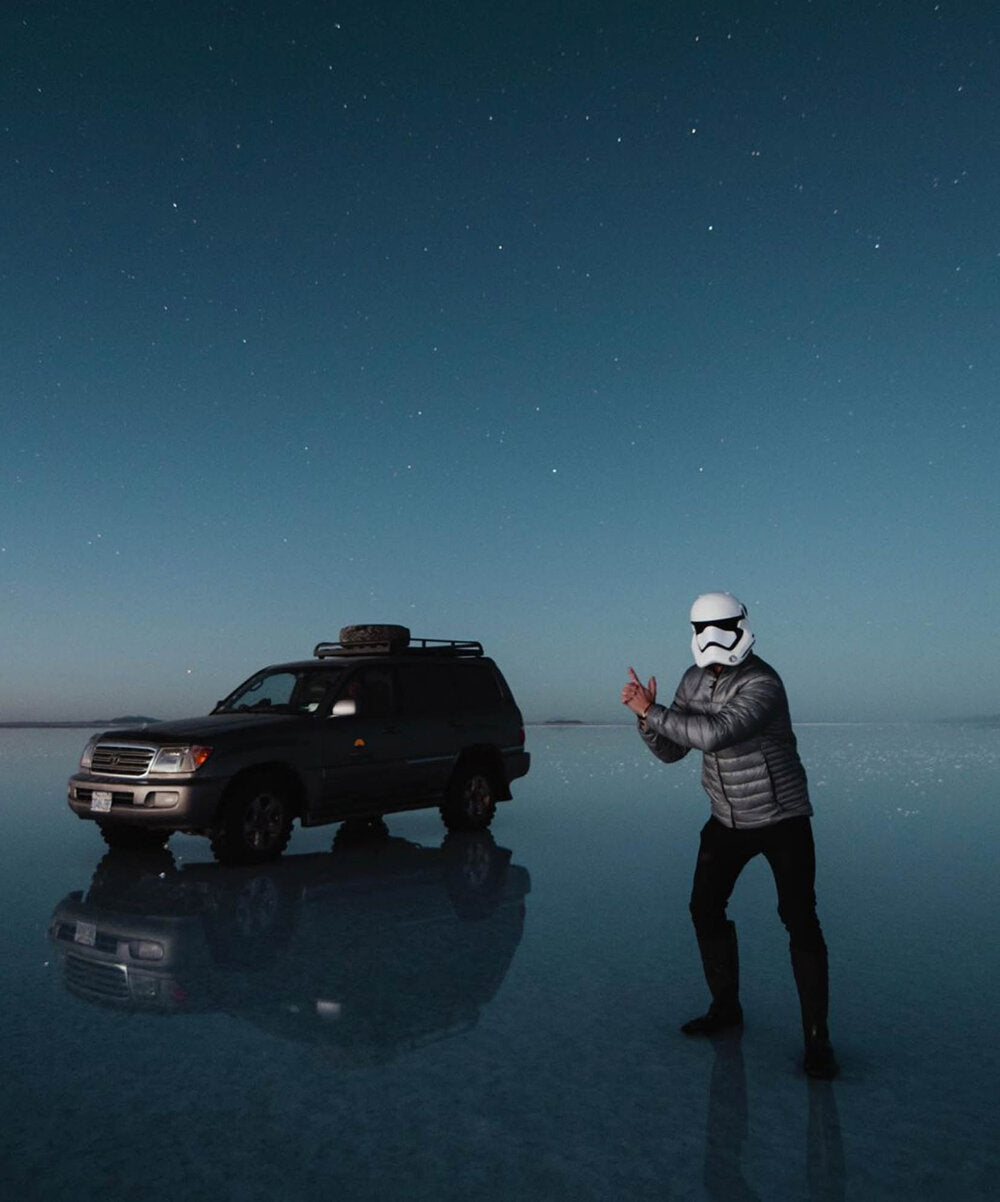 Lost LeBlanc dressed as Storm Trooper at the Salt Flats in Uyuni, Bolivia