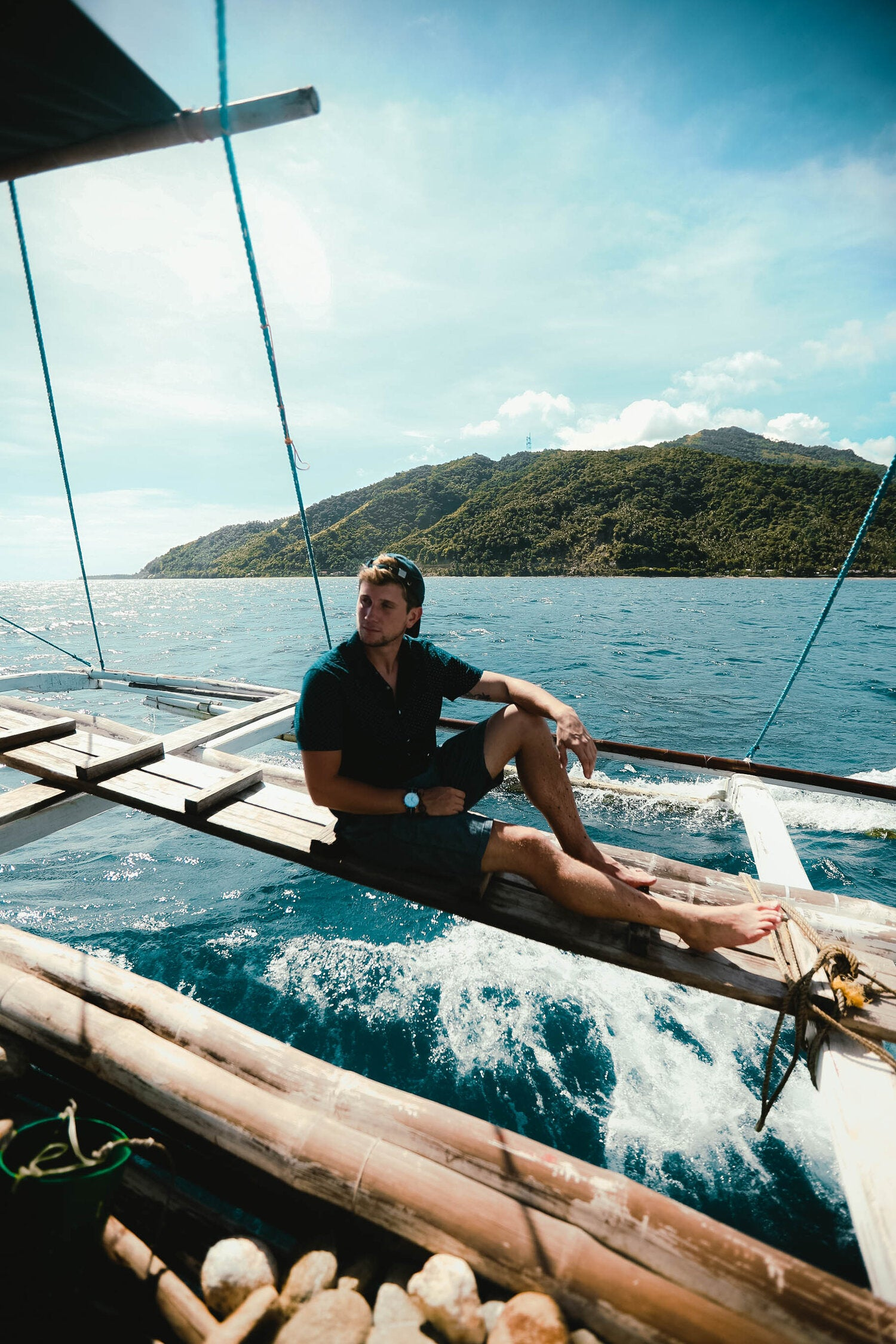 Lost LeBlanc on boat on way to Cresta De Gallo, Philippines