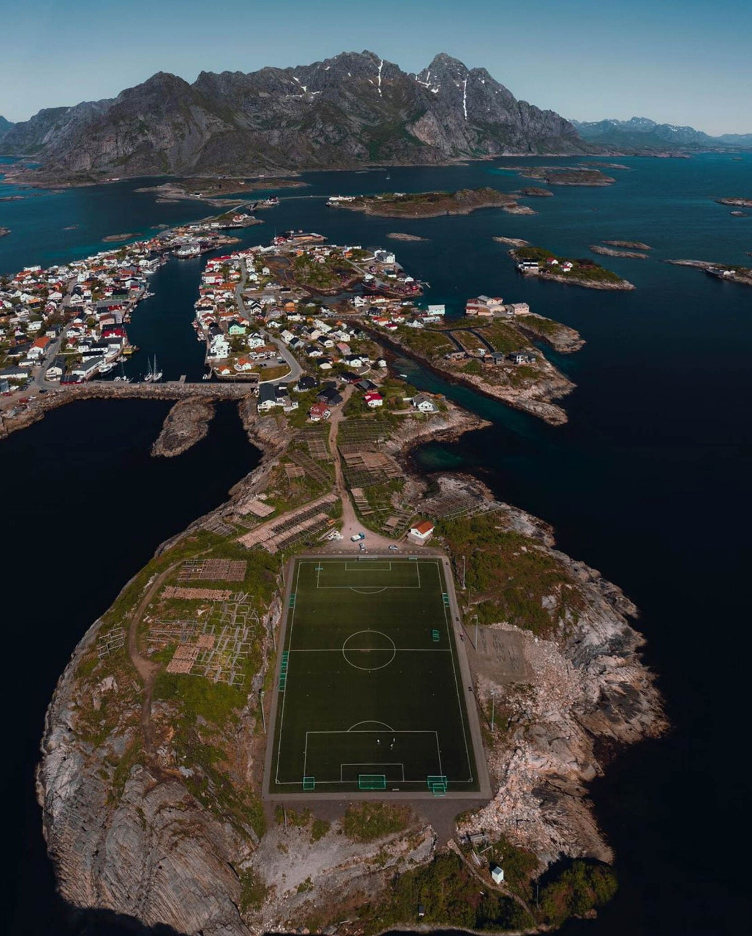 The football pitch in Lofoten, Norway - most unusually located football pitch