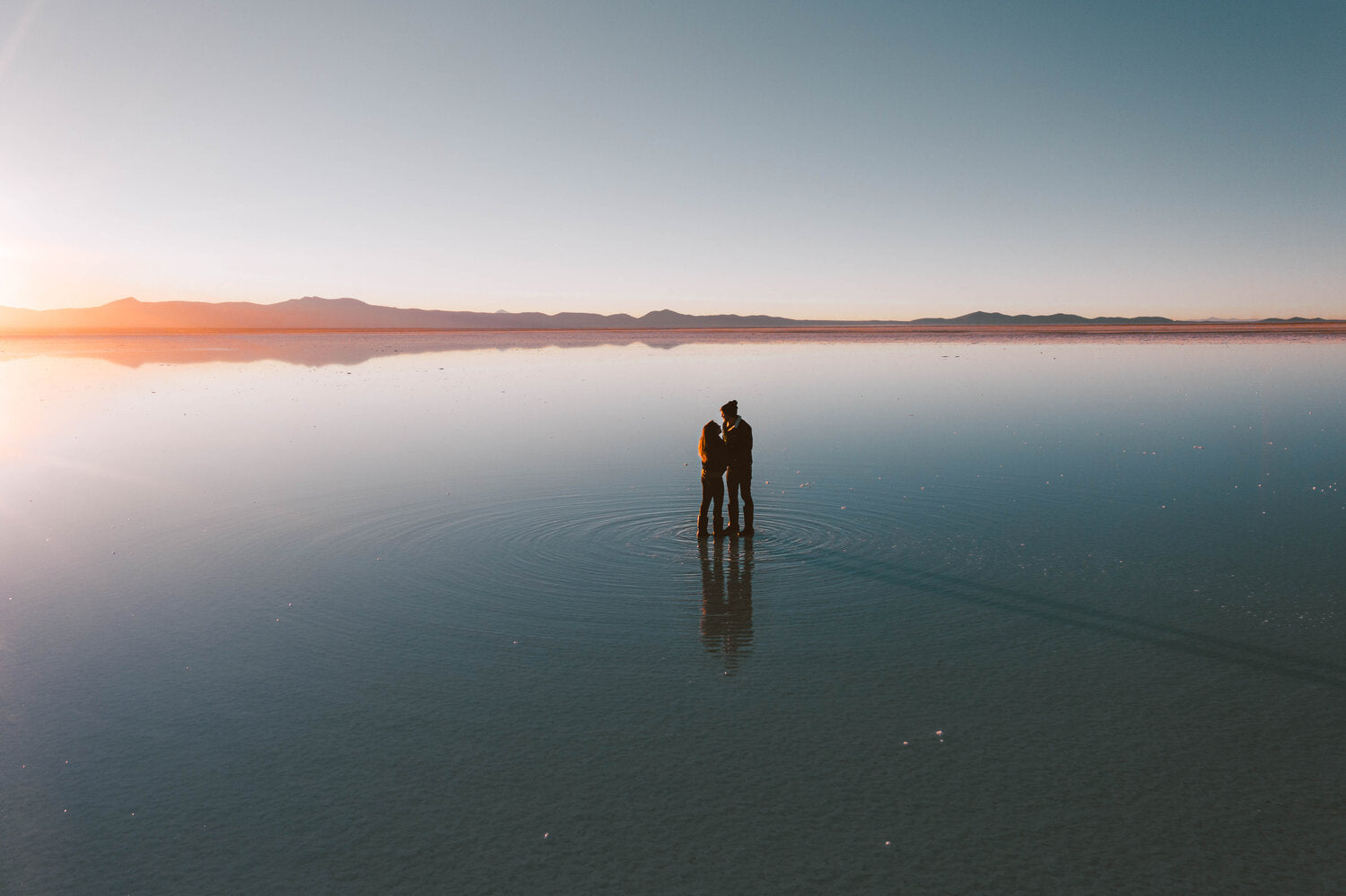 WhatTheChic and LostLeBlanc in the Salt Flats during sunrise, Uyuni, Bolivia