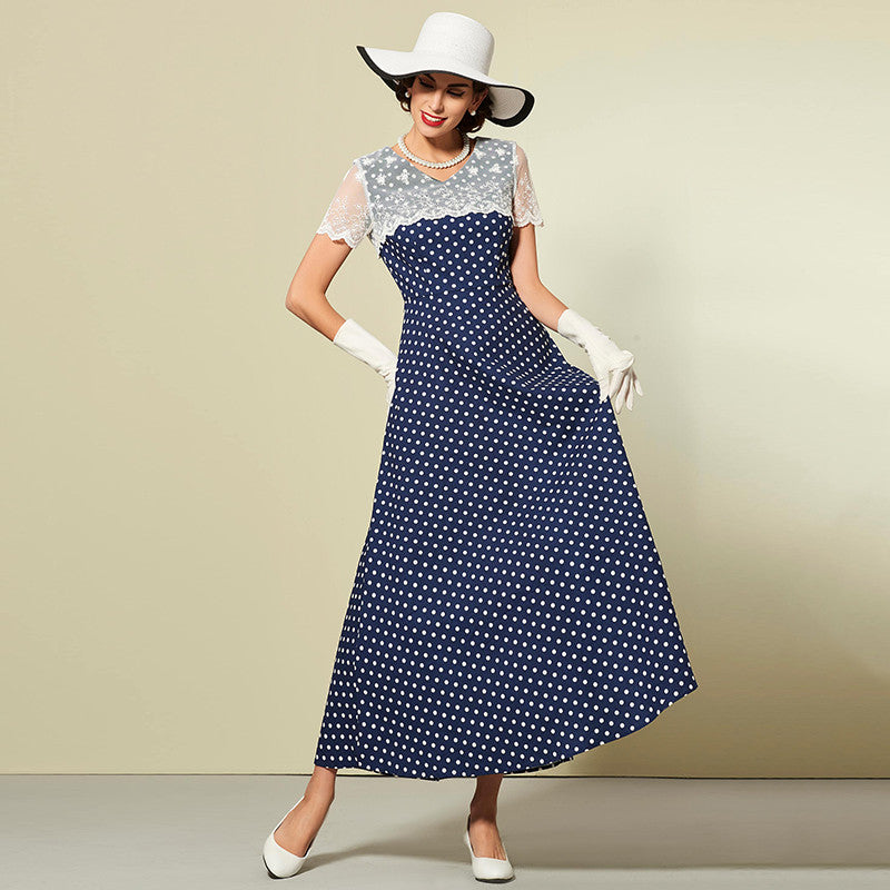 Women's Dress Vintage 1950s Polka Dot with Lace Shawl Blue White
