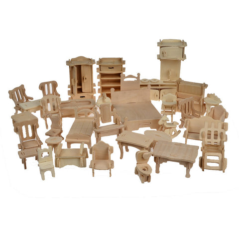 Toy Wooden DIY Doll House Furniture 34pcs - Goggi, Jolli & Milki - www.gojomi.com
