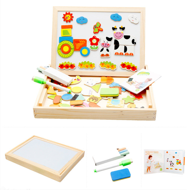 Toy Wooden Activity Centre Magnetic Puzzle with Drawing Board and Easel - Goggi, Jolli & Milki www.gojomi.com