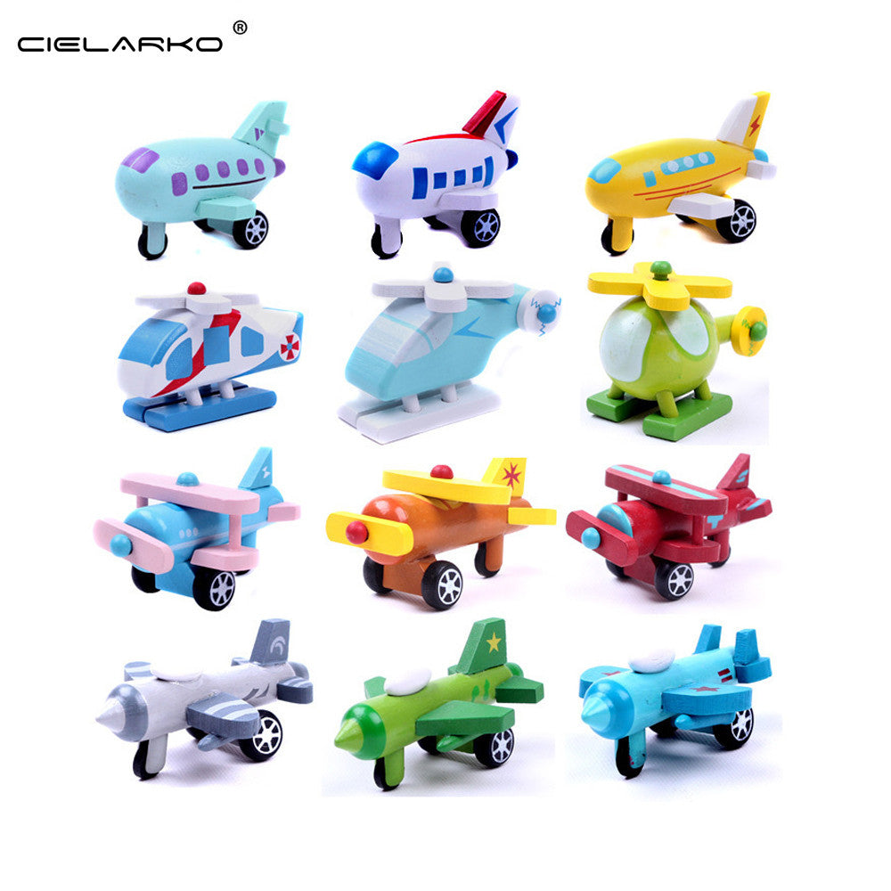 Toy Wooden 12pcs/set mini Aircraft and Vehicles - Goggi, Jolli & Milki - www.gojomi.com