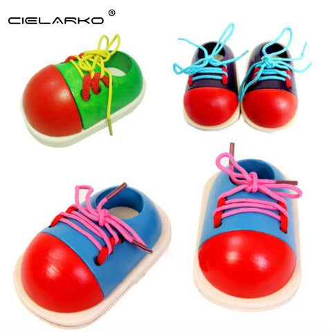 Toy Wooden Puzzle Lacing Shoes Teaching Aid