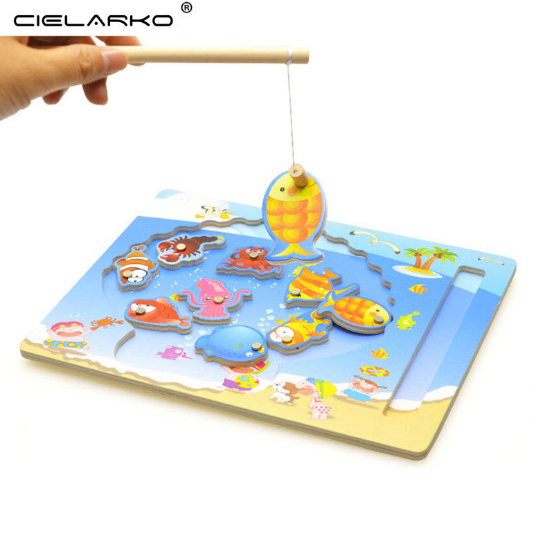 Toy Wooden Puzzle Magnetic Fishing Game & Jigsaw Board