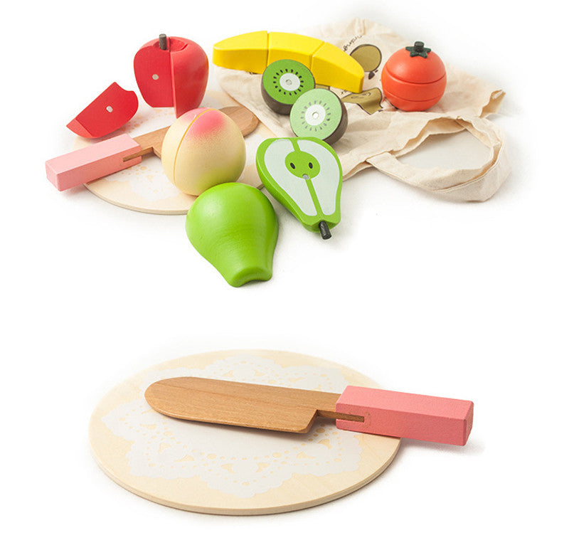 Toy Wooden Pretend Play Magnetic Cut Fruit
