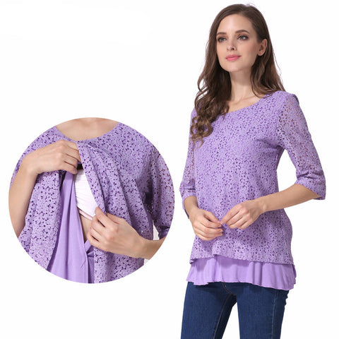Maternity 3/4 Sleeve Lace Maternity Top