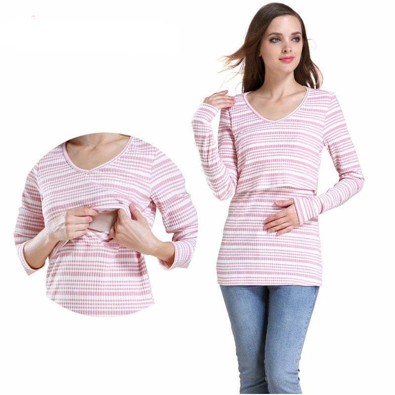 Maternity Tee Long Sleeve Stripe Knitted