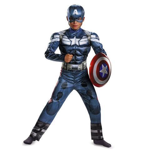 Cosplay Comic Child Captain America Muscle Suit