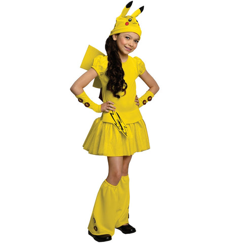 Cosplay Anime Child Pokemon Pikachu 5Pcs Costumes with Tail