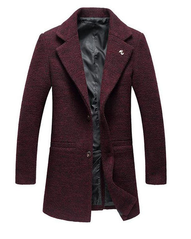 Men's Coat Peacoat Two Buttons Notched Lapel Traditional