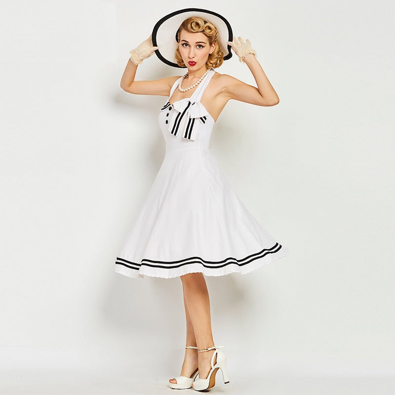 Women's Dress Vintage 1950s Nautical Pin Up Summer Halter with Bow-Knots - Goggi, Jolli & Milki - www.gojomi.com