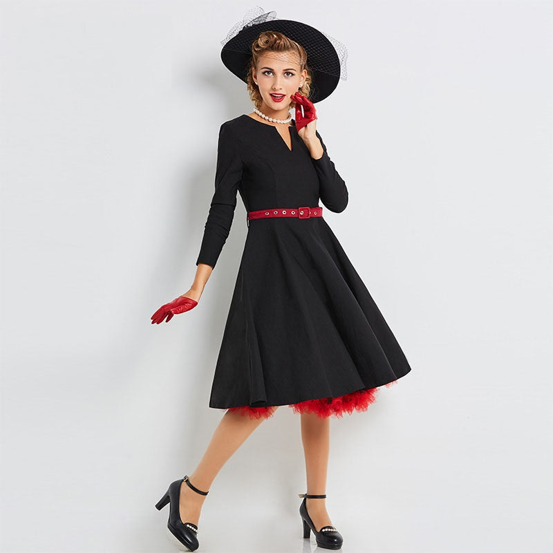 Women's Dress Vintage 1950s A-Line Black with Red Belt