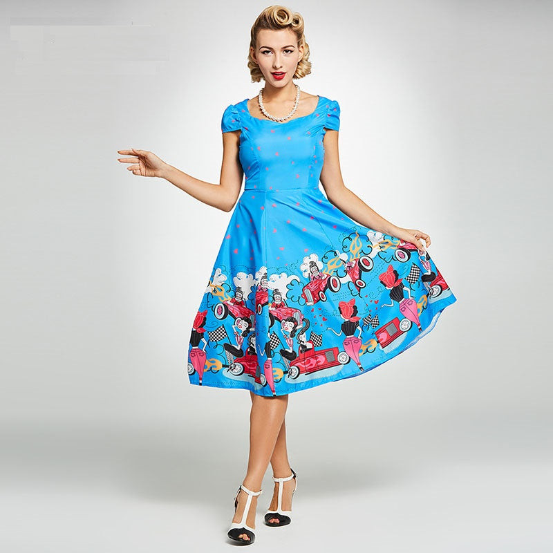 Women's Dress Vintage 1950s Pin Up Summer Blue Floral Colour Block - Goggi, Jolli & Milki - www.gojomi.com
