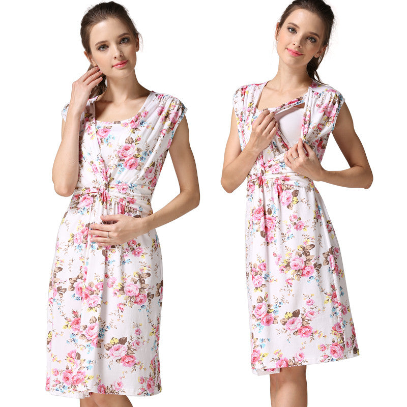 Maternity Dress Summer Floral Casual - Goggi, Jolli & Milki - www.gojomi.com