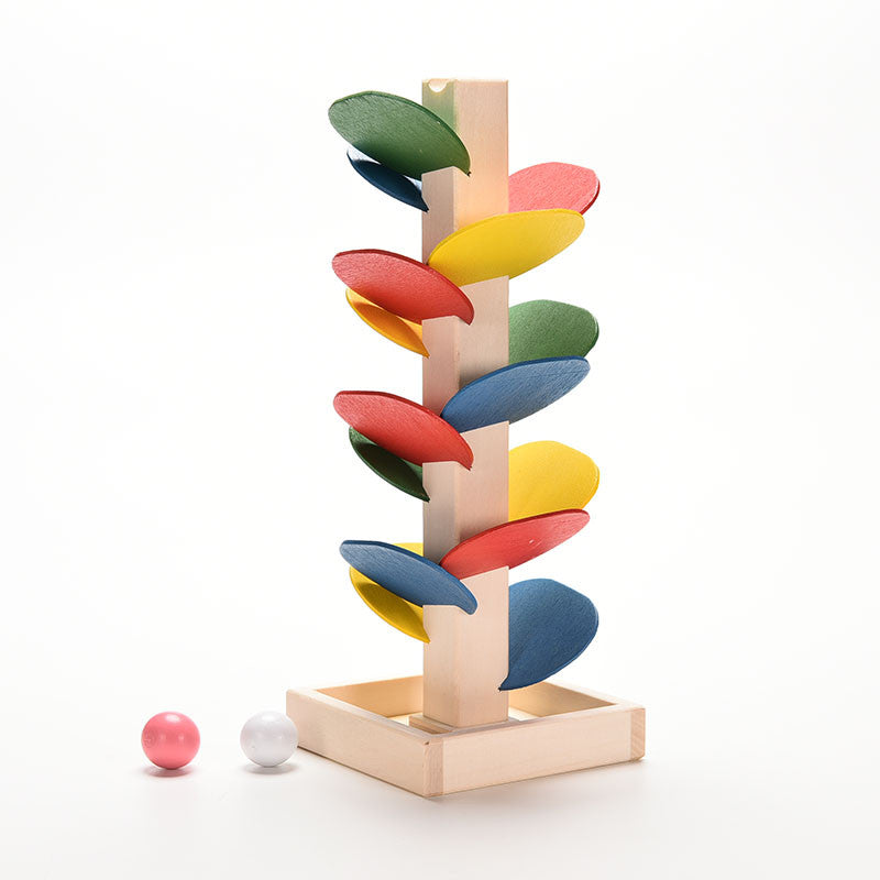 Toy Wooden Tree Marble Ball Run Track Game - Goggi, Jolli & Milki - www.gojomi.com