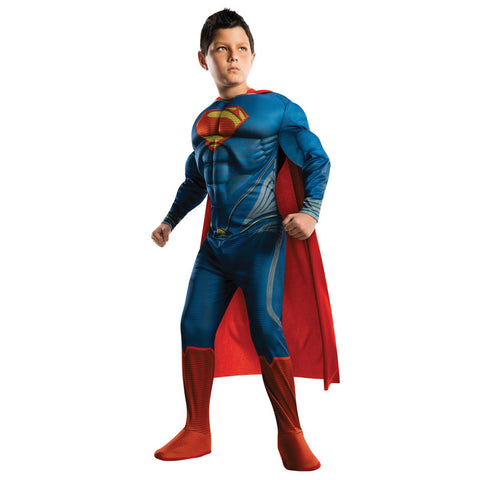 Cosplay Comic Child Superman with Cape Muscle Suit