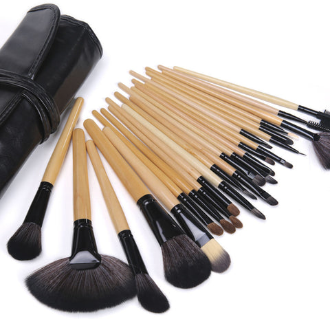 Beauty Brushes Makeup Pro 24Pcs with Pouch Black