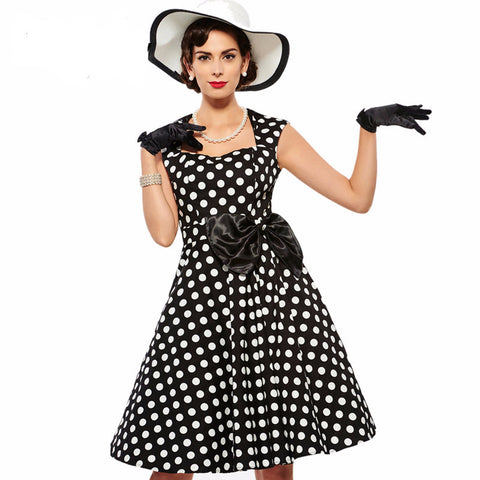Women's Dress Vintage 1950s Rockabilly Polka Dot Black White with Bow