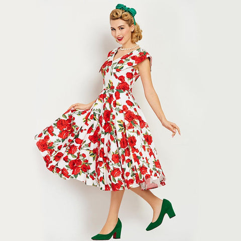 Women's Dress Vintage 1950s Pin Up Summer Red Floral