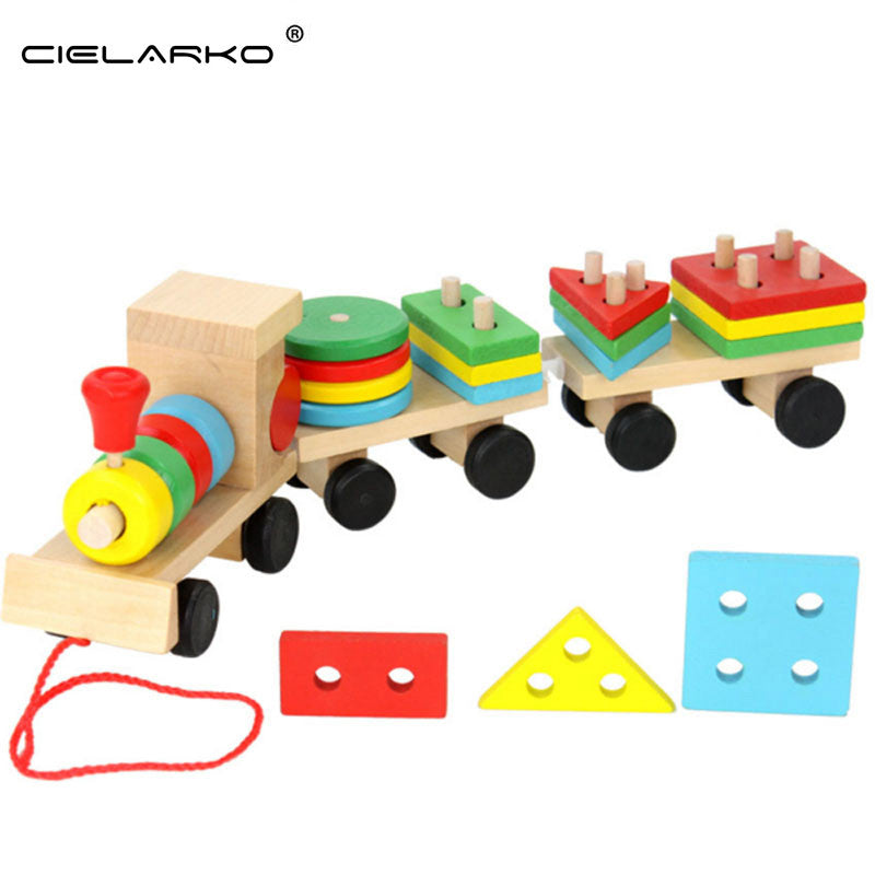 Toy Wooden Train Geometric Shape Carriages
