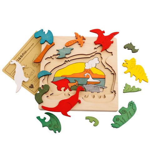Toy Wooden Puzzle Multilayer Dinosaur Animal Vehicles Jigsaw - Goggi, Jolli & Milki www.gojomi.com