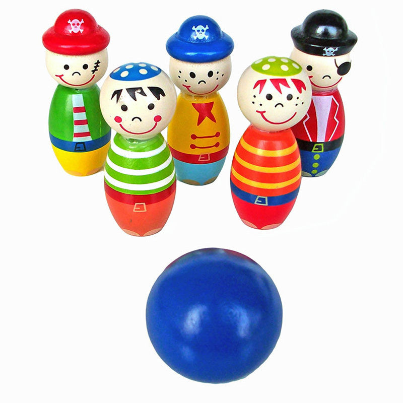 Toy Wooden Cartoon Pirate Mini Bowling - Goggi, Jolli & Milki - www.gojomi.com