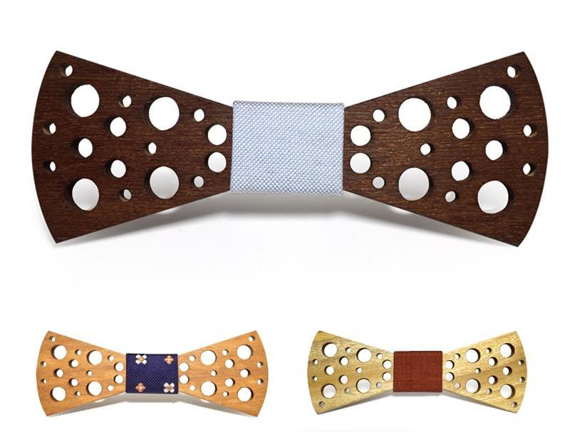 Bunyan's Bow Ties - Carved Rounded Club Swiss Cheese Handcrafted Wood