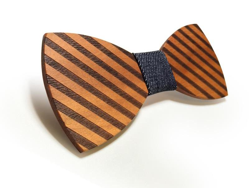 Bunyan's Bow Ties - Butterfly Diagonal Stripes Light Handcrafted Wood - Goggi, Jolli & Milki - www.gojomi.com