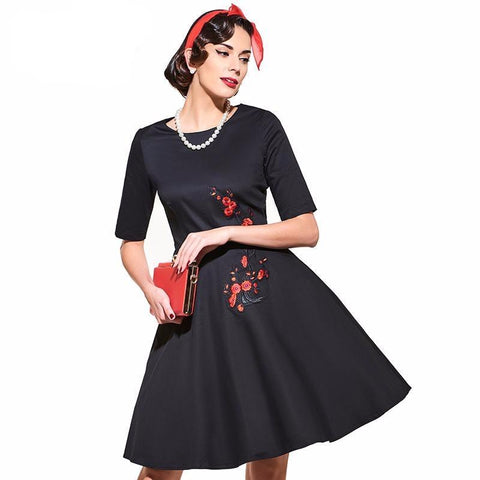 Women's Dress Vintage 1950s Black White with Red Cherry Blossom Print