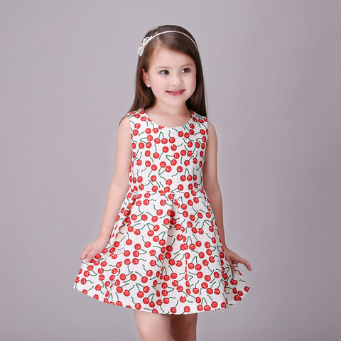 Girls Dress Casual Red Cherries - Goggi, Jolli & Milki - www.gojomi.com