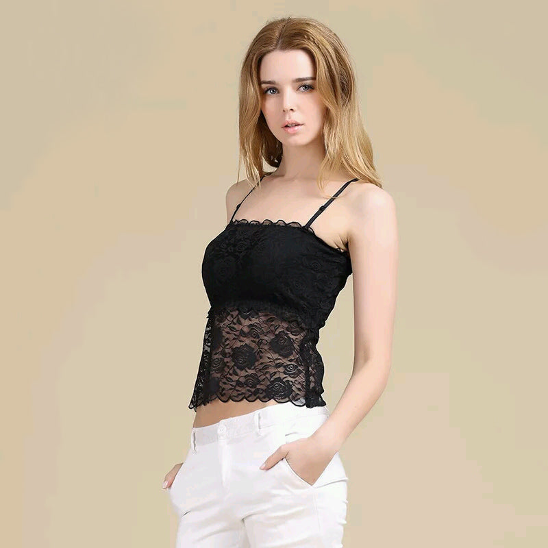 Women's 100% Pure Silk Camisole Sexy Lace