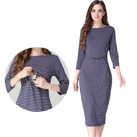 Maternity Dress Sheath Stripe