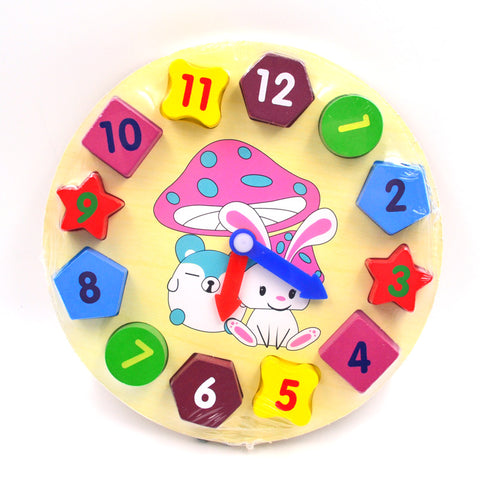 Toy Wooden Clock Face Geometry Teaching Aid