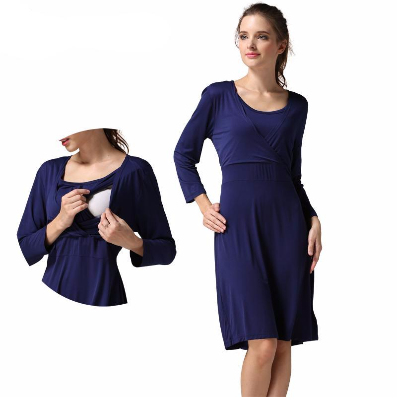 Maternity Dress Summer Long Sleeve Classic - Goggi, Jolli & Milki - www.gojomi.com
