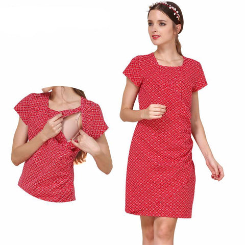 Maternity Dress Tunic Short Short Sleeve Red