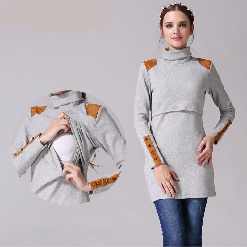 Maternity Jumper Turtleneck Long Sleeve Patchwork