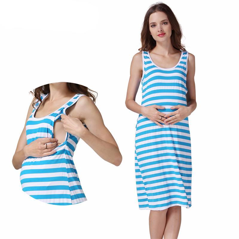 Maternity Dress Summer Stripe Blue Casual