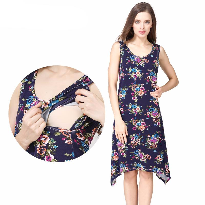 Maternity Dress Summer Floral on Black Casual