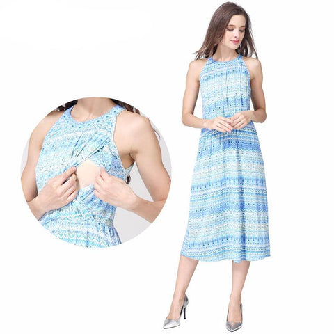 Maternity Dress Summer Halter Blue Casual