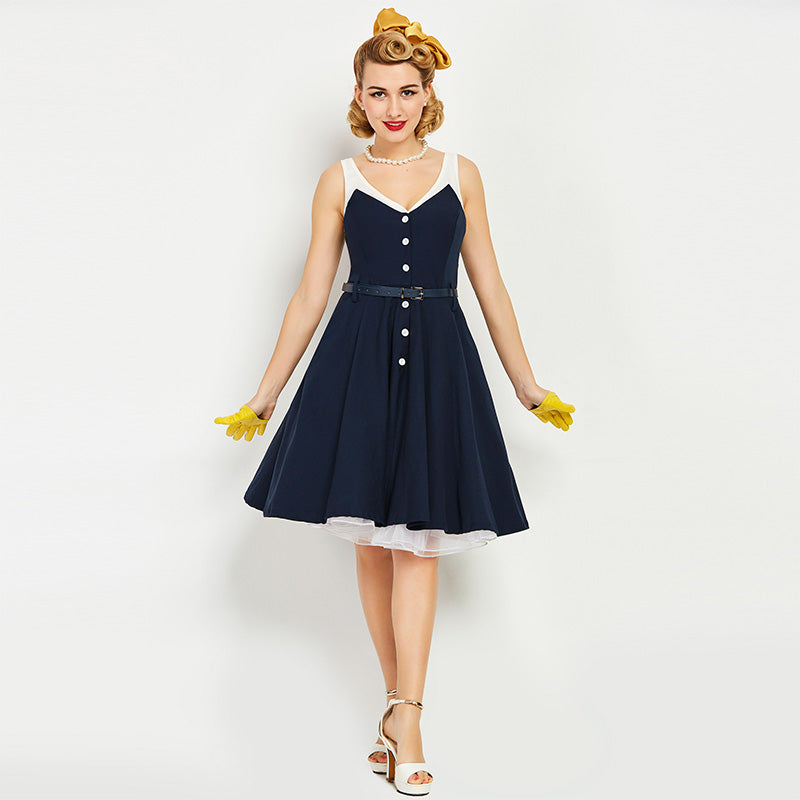 Women's Dress Vintage 1950s Nautical Pin Up Summer Strapped Bi-Colour - Goggi, Jolli & Milki - www.gojomi.com