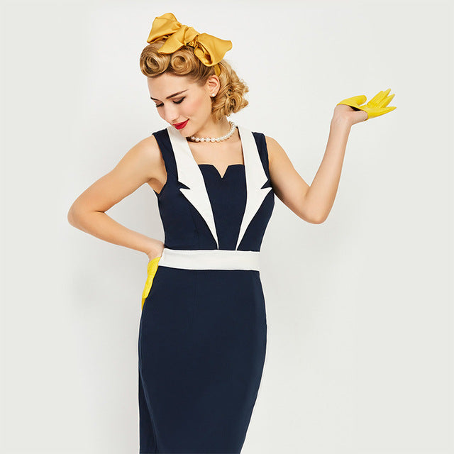 Women's Dress Vintage 1950s Nautical Pin Up Summer Bodycon Bi-Colour