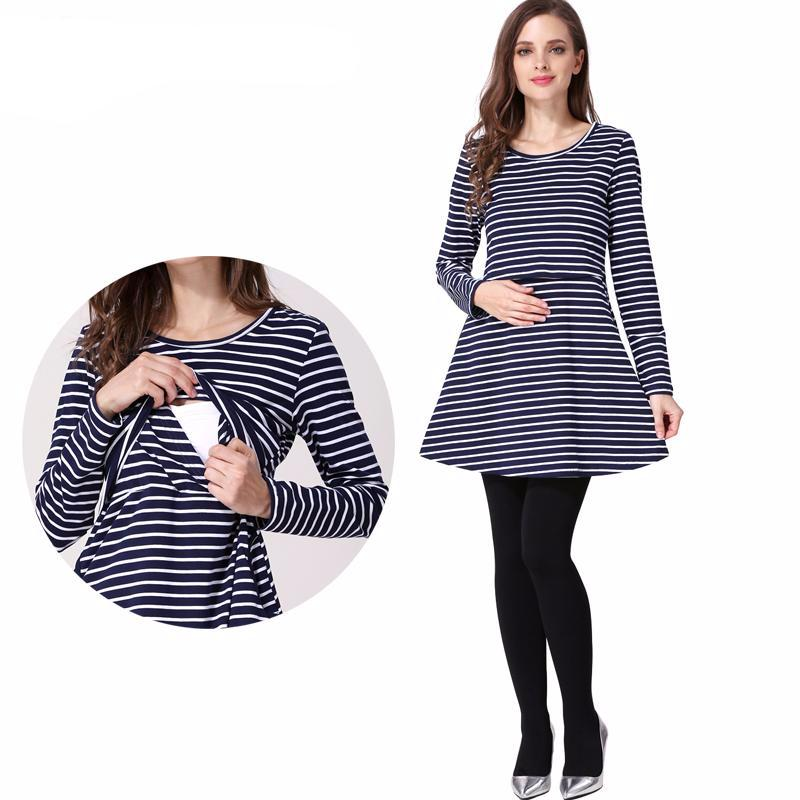 Maternity Dress Mini Stripe