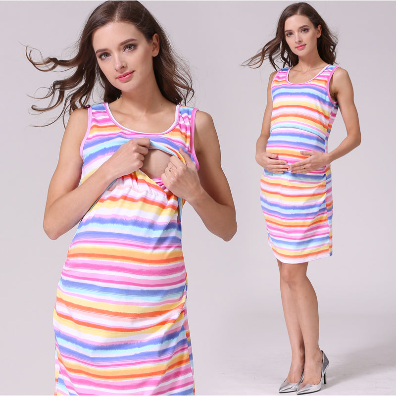 Maternity Dress Summer Stripe Rainbow Casual